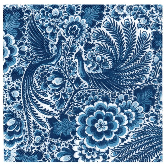 Napkins delft blue print flowers peacock holland