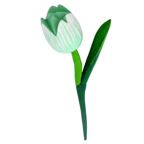 Wooden tulip green white 36 centimeter