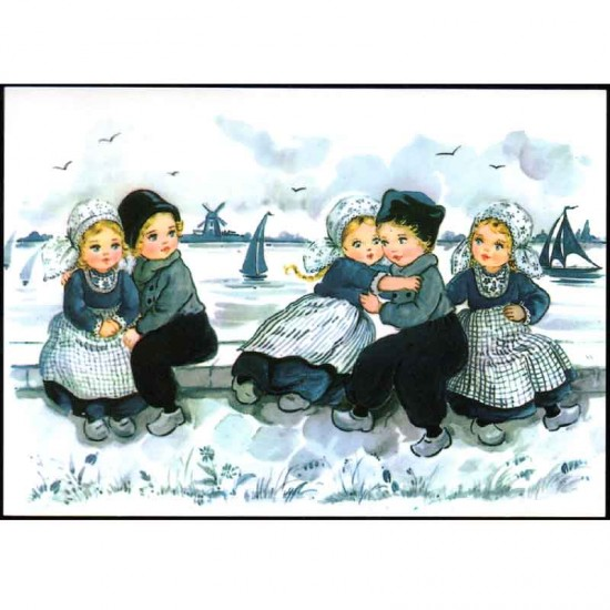 Postcard a6 children blue nostalgic