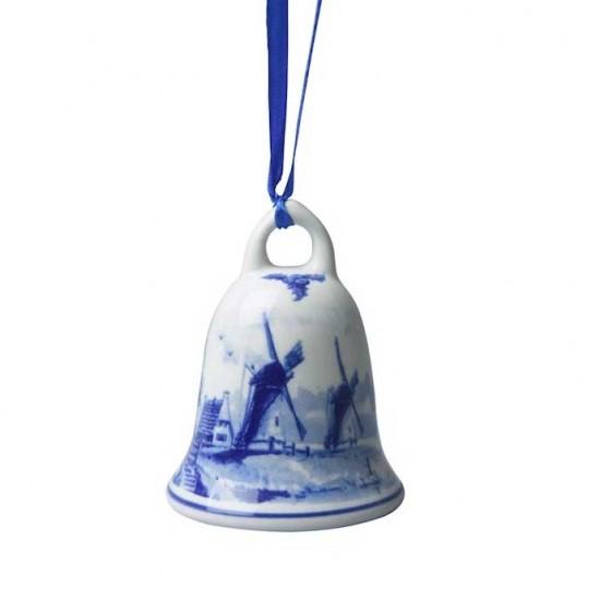 Kerst bel delfts blauw 8 cm