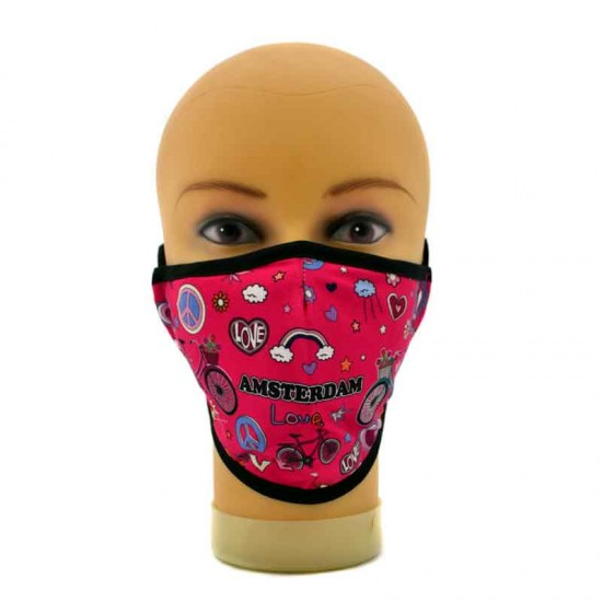 Yellow face mask amsterdam with flower power hippie design