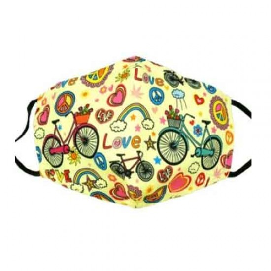 Yellow face mask with flower power hippie design