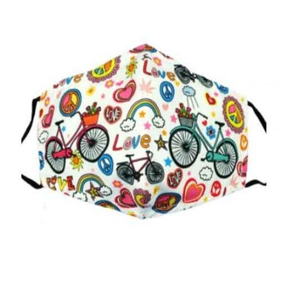 Mondkapje flower power design fiets wit