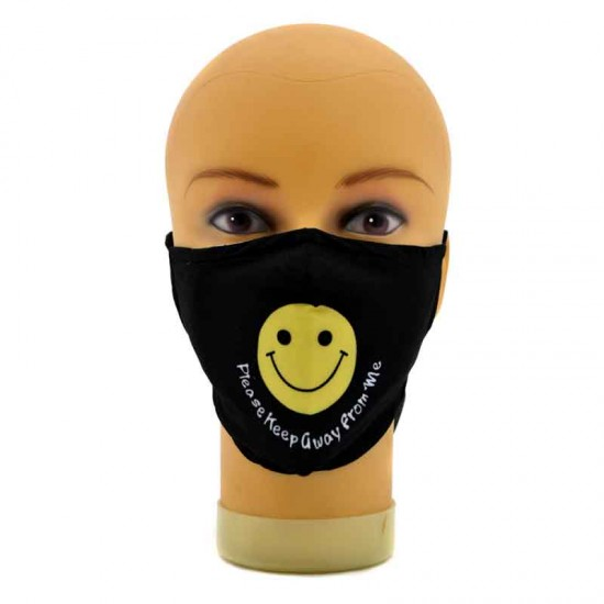 Black face mask with a yellow smiley