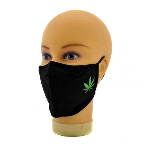 Adjustable black face mask with green cannabis leaves