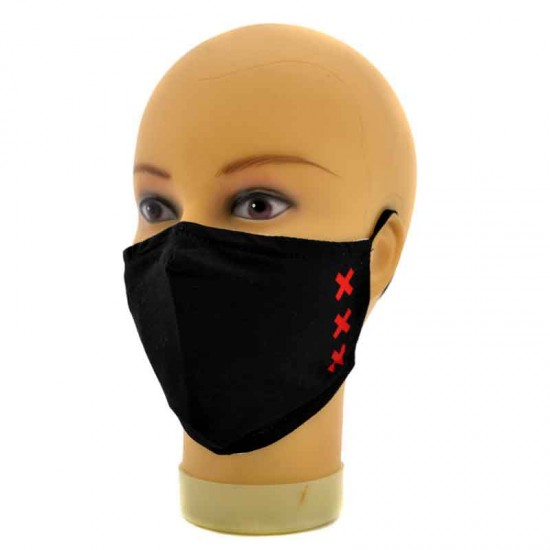 Adjustable black face mask with print crosses xxx amsterdam
