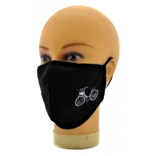 Zwart mondkapje met afbeelding fiets