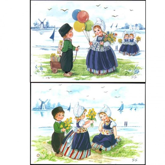 Postcard a6 children color nostalgic