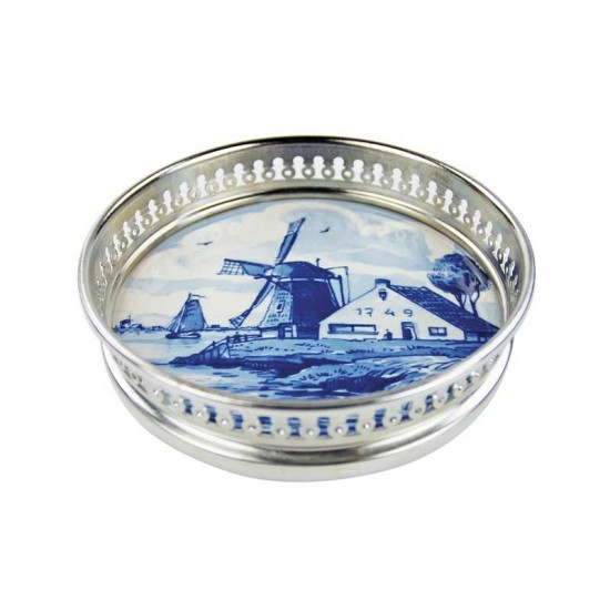 Delft blue wine coaster windmill landscape
