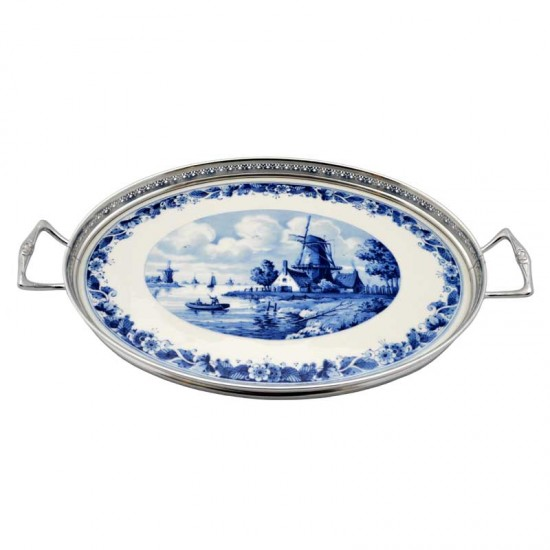 Serving tray delft blue windmill landscape flower decoration silver tin