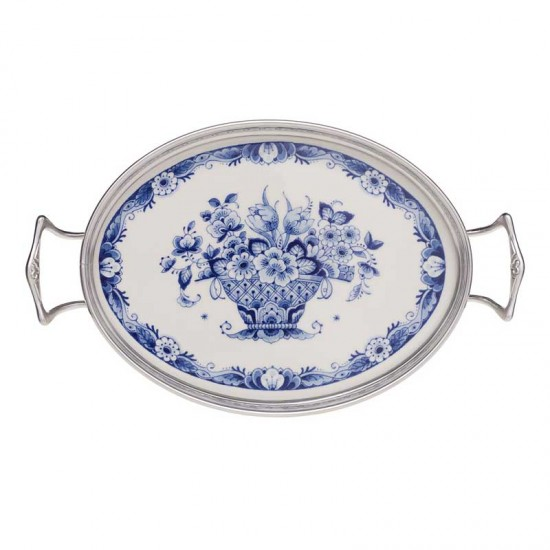 Cream set tray delft blue flower decoration silver tin