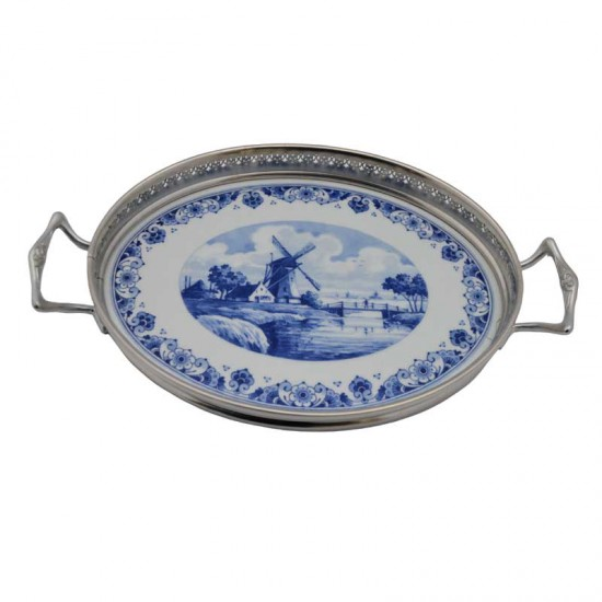 Cream set tray delft blue windmill landscape silver tin