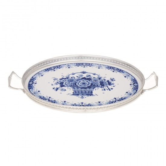 Serving tray delft blue flower decoration silver tin