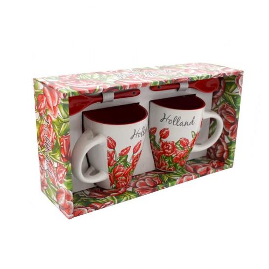 Cadeauset mok lepel tulpen kleur Holland 2 stuks