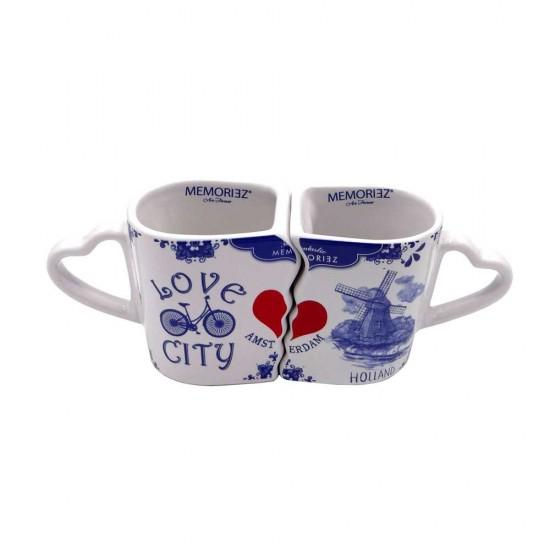 Duo mokken Amsterdam Delfts blauw Geschenk set
