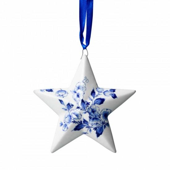 Kersthanger ster bloemen Delfts blauw