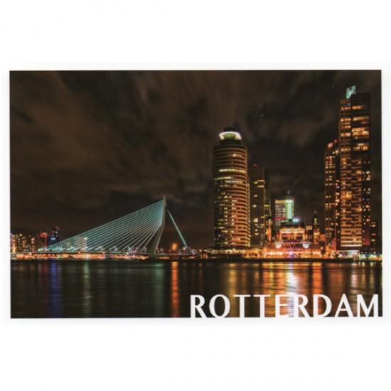 POSTCARD PHOTO ROTTERAM ERASMUS BRIDGE FIREWORKS NEDERHOF VK14