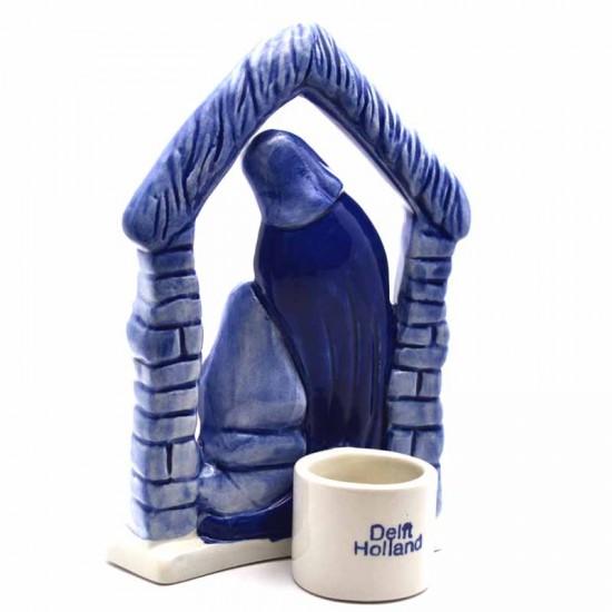 Delft blue Christmas candlestick candle holder nativity scene