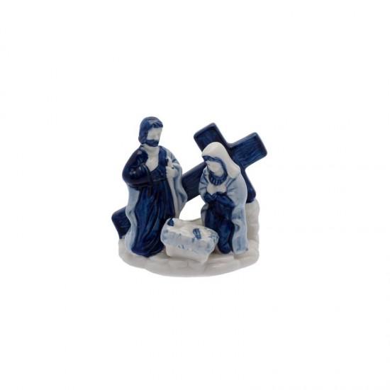 Delft blue Christmas cross figure nativity scene holy family