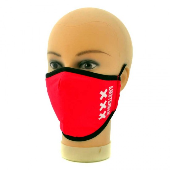 Adjustable red face mask with print white crosses XXX Amsterdam