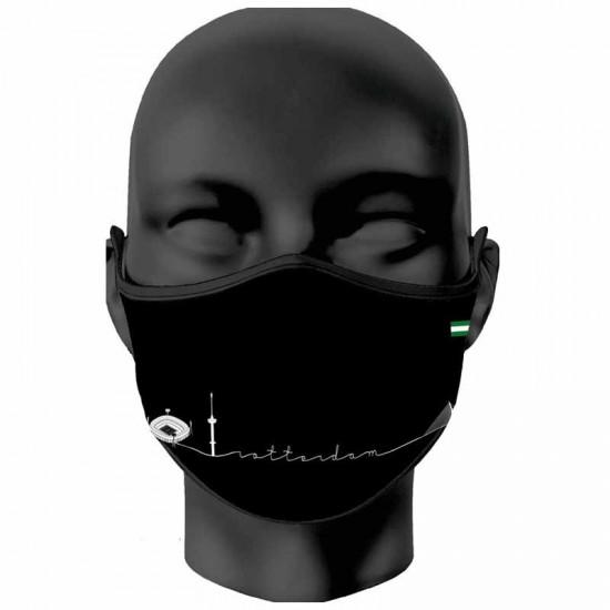 Mondkapje Rotterdam symbolen zwart