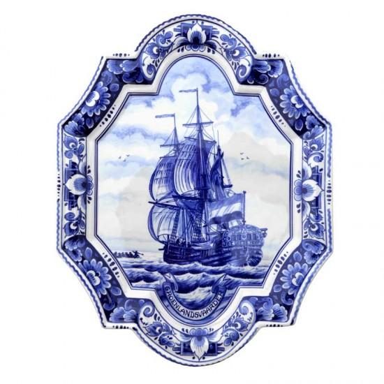 Applique delfts blauw schip verticaal groot