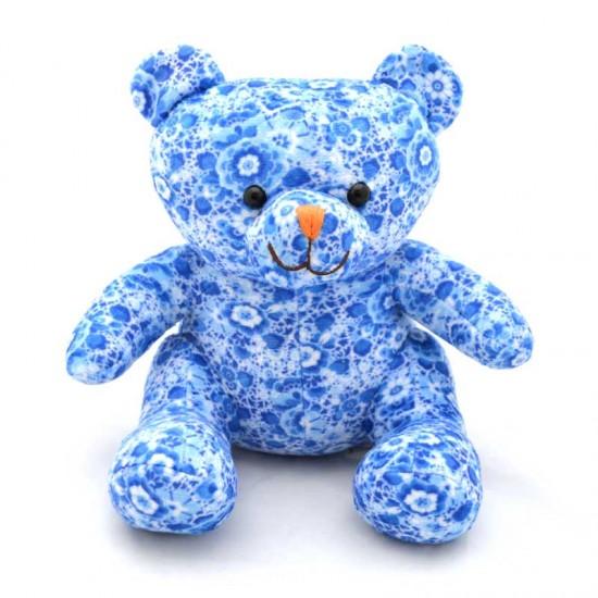 Knuffel teddybeer delfts blauw bloem 20cm