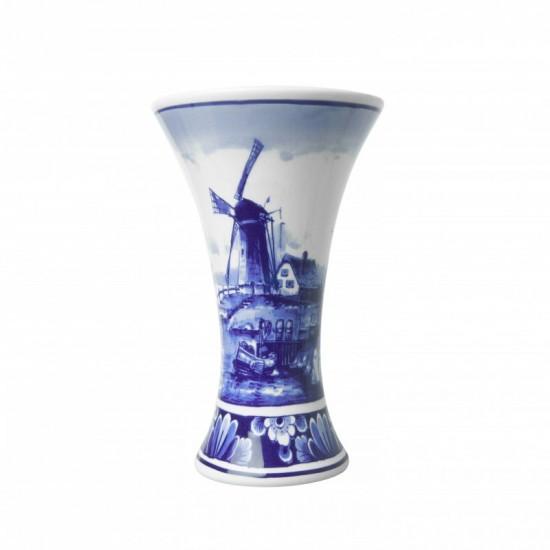 Chalise vase delft blue dutch landscape windmill