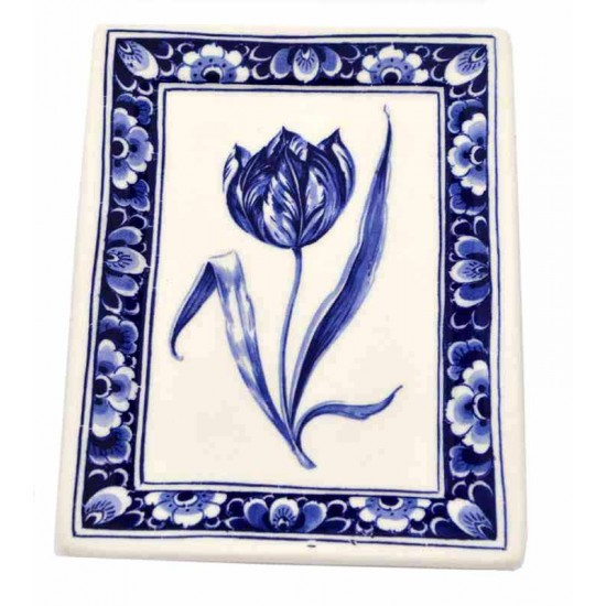 Applique delft blue tulip rectangle