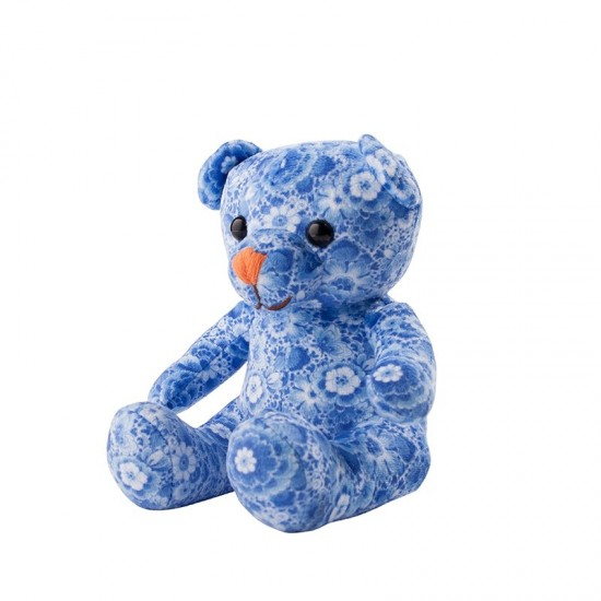 Knuffel teddybeer delfts blauw bloem 15cm