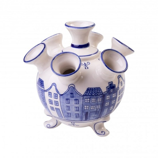 Tulip vase delft blue dutch canal houses small