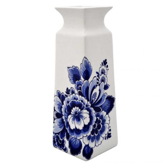 Vase delft blue peacock flower rectangular large