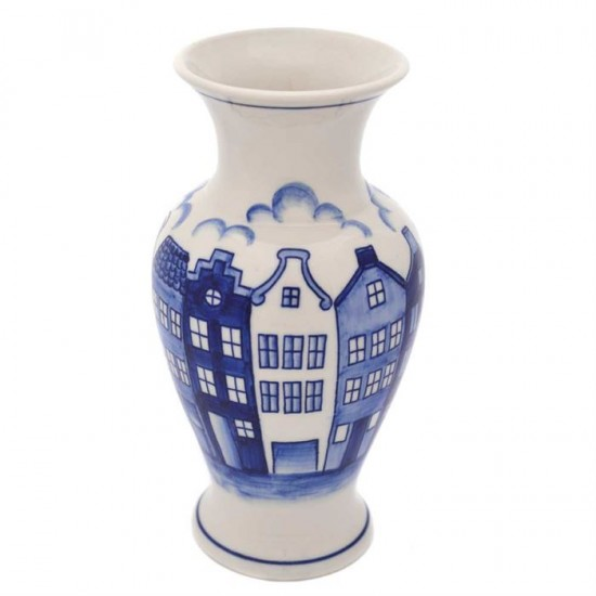 Vase delft blue canal houses