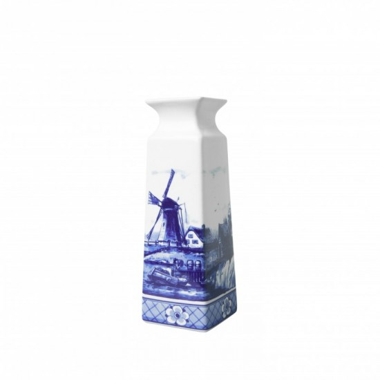 Vase delft blue windmill landscape rectangular small