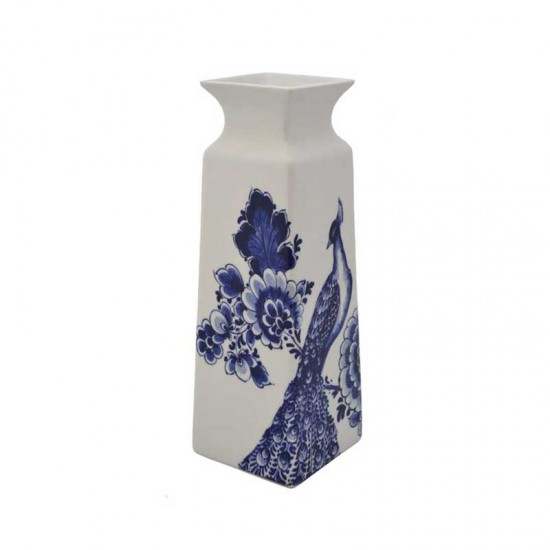 Vase delft blue peacock flower rectangular small