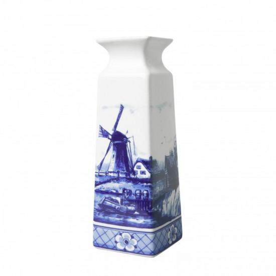 Vase delft blue windmill landscape rectangular large