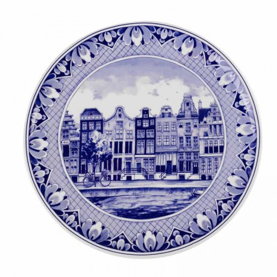 Delft blue wall plate amsterdam canal houses large