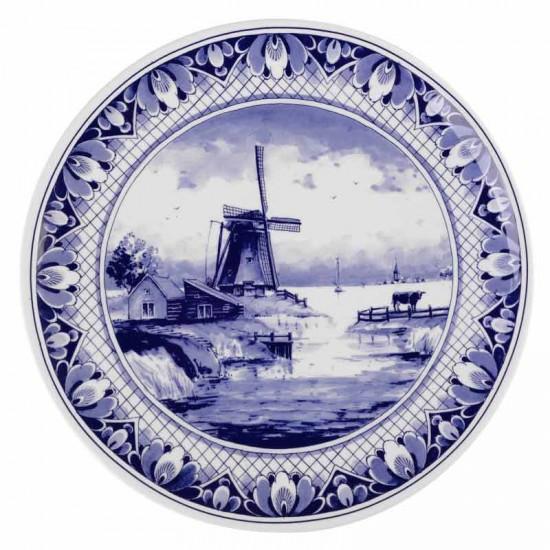 Wandbord delfts blauw molen landschap 25 cm