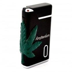 TORCH LIGHTER AMSTERDAM CANNABIS WEED BLACK GREENLIGHT