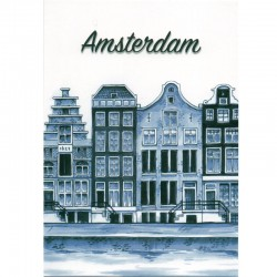 POSTCARD AMSTERDAM CANAL HOUSES DELFT BLUE