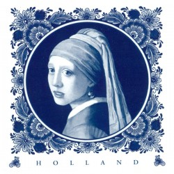 POSTCARD HOLLAND DELFT BLUE TILE VERMEER GIRL WITH THE PEARL EARRING