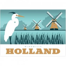 POSTCARD WINDMILLS GREETINGS FROM HOLLAND MODERN