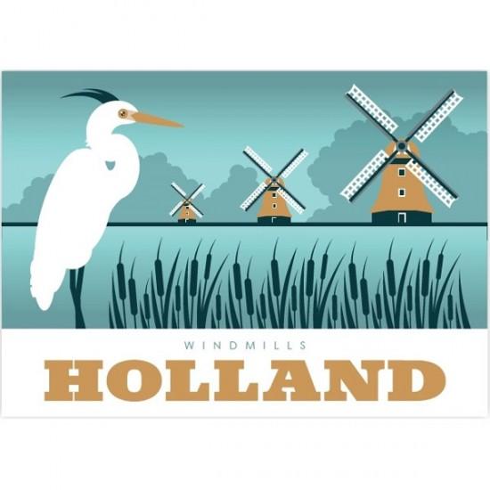 Postkarte windmühlen greetings from holland modern