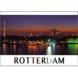 PHOTO POSTCARD ROTTERDAM EUROMAST SKYLINE BY NIGHT NEDERHOF VK05