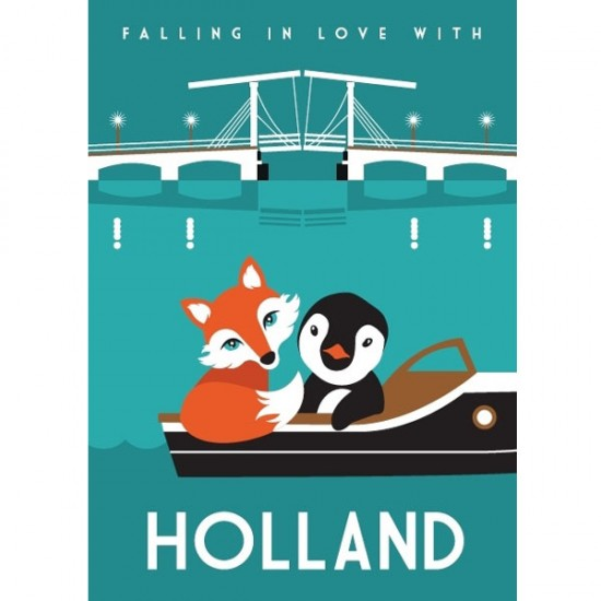 POSTCARD FALLING IN LOVE WITH HOLLAND MODERN