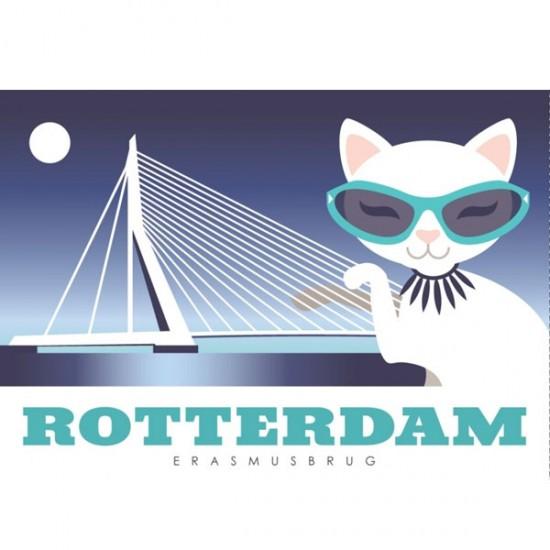 POSTCARD ERAMUS BRIDGE ROTTERDAM MODERN