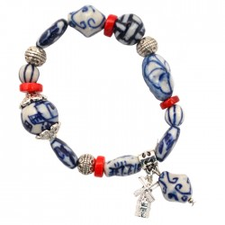 BRACELET DELFT BLUE BEADS / RED BEADS