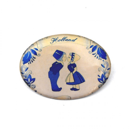 BROOCHE DELFT BLUE KISSING COUPLE