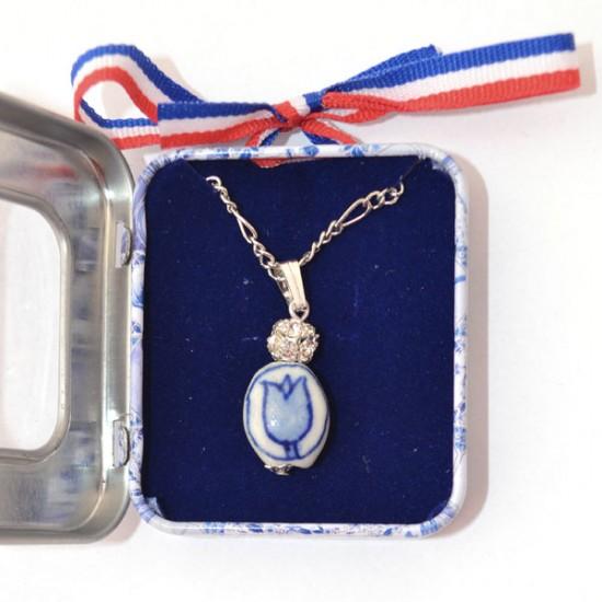 Necklace delft blue tulip rhinestones in souvenir tin