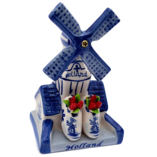 DELFT BLUE WINDMILL HOUSE WOODEN SHOES TULIPS 11 CM
